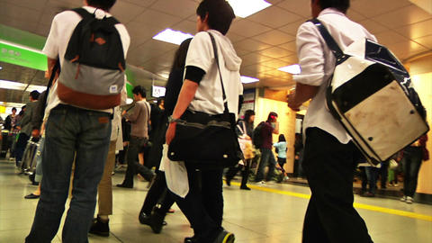 Crowd Tokyo Subway SlowMotion 60fps 18 Footage