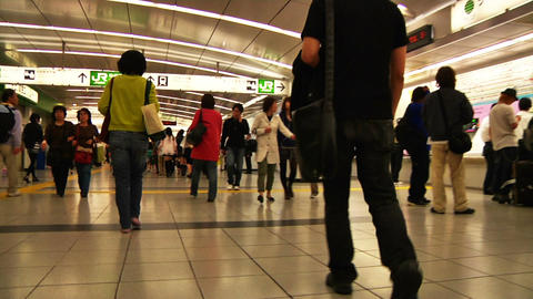 Crowd Tokyo Subway SlowMotion 60fps 20 Stock Video Footage