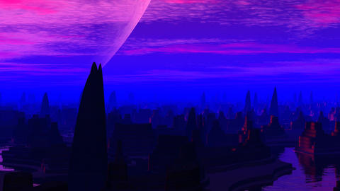 Fantastic city and huge planet Animation