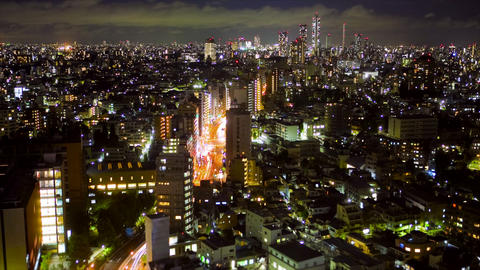 Downtown Tokyo at night Stock Video Footage