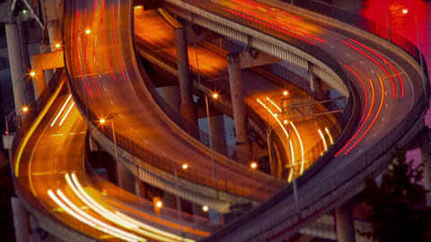 Busy freeway at night Stock Video Footage