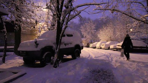 Cars in snowbanks Stock Video Footage