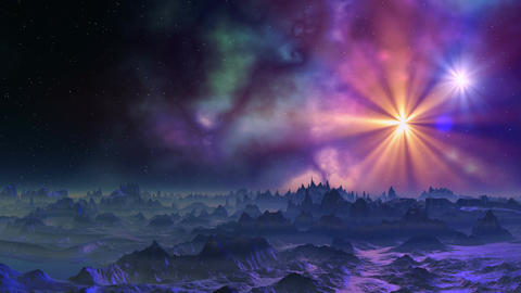 Bright stars and nebula Stock Video Footage