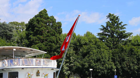 Switzerland Flag On Ship Stock Video Footage