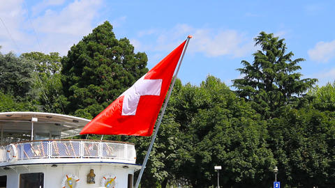 Switzerland Flag On Ship Stock Video Footage