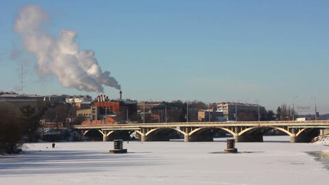 Bridge in winter 1 Stock Video Footage
