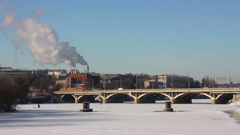 Bridge in winter 1 Stock Video Footage