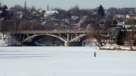 Bridge in winter 3 Stock Video Footage