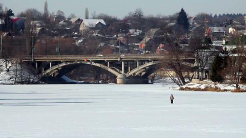 Bridge in winter 3 Stock Video Footage