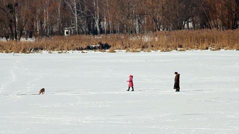 People on ice 3 Stock Video Footage