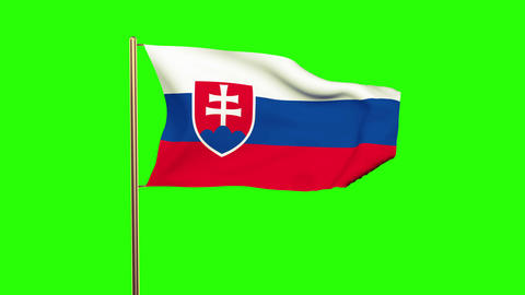 Slovakia flag waving in the wind. Looping sun rises style. Animation loop. Green Animation