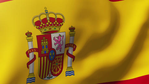 Spain flag waving in the wind. Looping sun rises style. Animation loop Animation