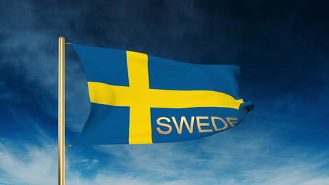 Sweden flag slider style with title. Waving in the wind with cloud background an Animation