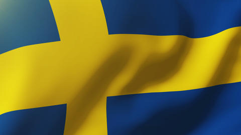 Sweden flag waving in the wind. Looping sun rises style. Animation loop Animation