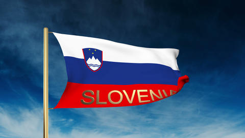 Slovenia flag slider style with title. Waving in the wind with cloud background  Animation