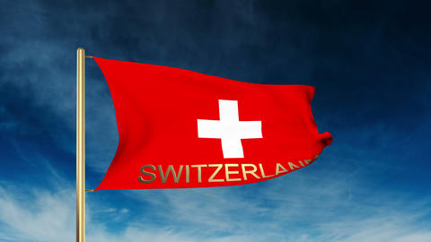 Switzerland flag slider style with title. Waving in the wind with cloud backgrou Animation