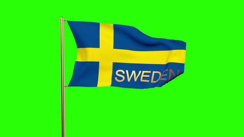 Sweden flag with title waving in the wind. Looping sun rises style. Animation lo Animation