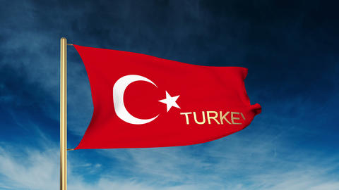 Turkey flag slider style with title. Waving in the wind with cloud background an Animation