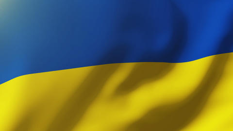 Ukraine flag waving in the wind. Looping sun rises style. Animation loop Animation
