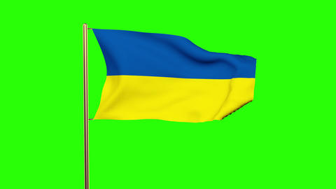 Ukraine flag waving in the wind. Looping sun rises style. Animation loop. Green  Animation