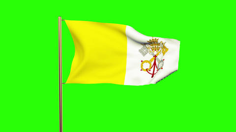 Vatican City flag waving in the wind. Looping sun rises style. Animation loop. G Animation
