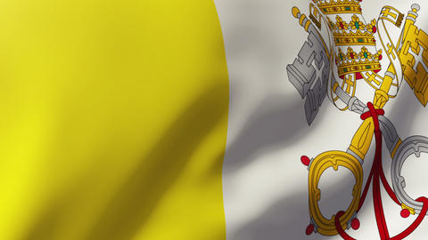 Vatican City flag waving in the wind. Looping sun rises style. Animation loop Animation