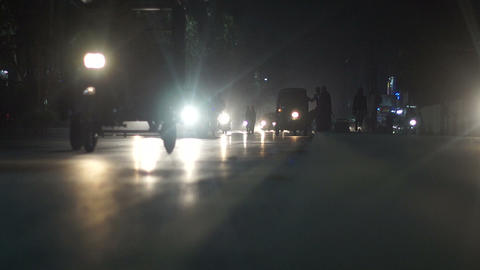 Night Time Traffic Busy Road Of Pakistan stock footage