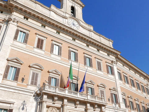 Palazzo Montecitorio. Rome, Italy - February 18, 2015: Baroque palace, which sit Footage