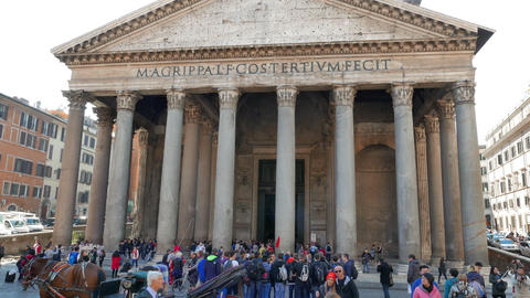 Colonnade Pantheon, Rome, Italy - February 18, 2015: Temple of all the gods buil Footage