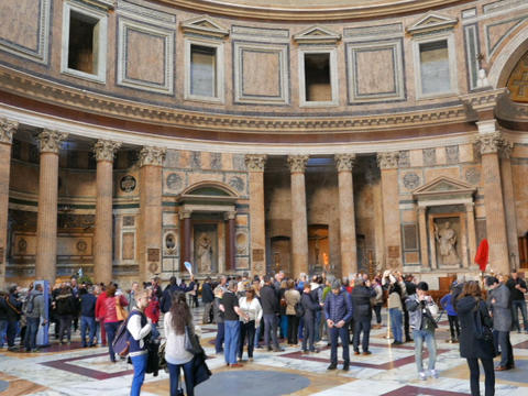 Pantheon, Rome, Italy - February 18, 2015: The Temple Of All The Gods Built In T stock footage