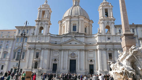 Sant'Agnese in Agone. Piazza Navona, Rome, Italy - February 18, 2015: Square was Footage