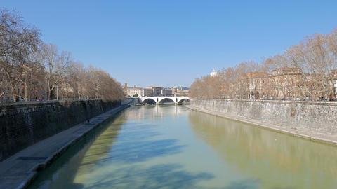 Ponte Principe Amedeo. Tiber. Rome, Italy. 4K Footage