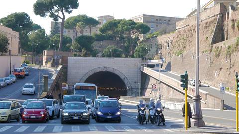 Arch Galleria Principe Amedeo di Savola tunnel. Rome, Italy - February 18, 2015: Footage