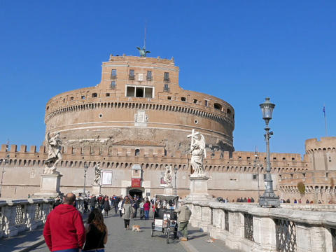 Castle and Bridge of San Angelo. Rome, Italy - February 18, 2015: There was a ma Footage