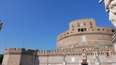 Sculpture And The Castle Of San Angelo. Rome, ItalyCastle San Angelo. Rome, Ital stock footage