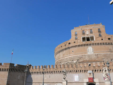 Sculpture and the Castle of San Angelo. Rome, ItalyCastle San Angelo. Rome, Ital Footage