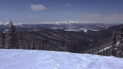 Long Distance Ski Slopes Mountain Views Footage