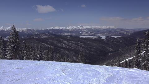 Long Distance Ski Slopes Mountain Views Footage