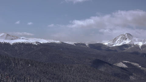 High Elevation Winter Snowy Sunny Mountain Pan stock footage