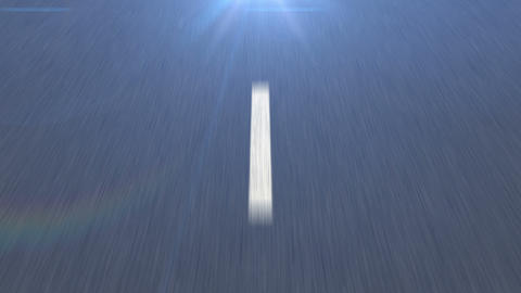 White dotted line on the Asphalt road in motion Animation