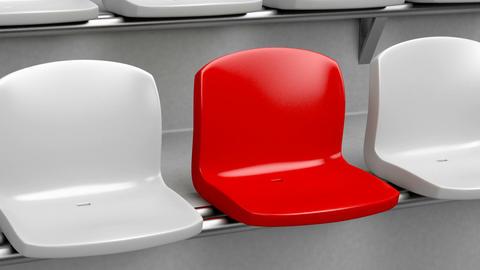 Unique red seat at the stadium Animation