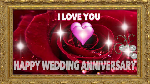 Wedding Anniversary - I LOVE YOU stock footage