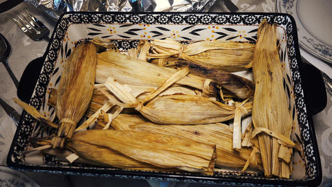 Homemade Tamales For Christmas Dinner stock footage