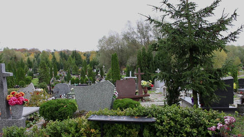 Panorama of cemetery in Poland Footage