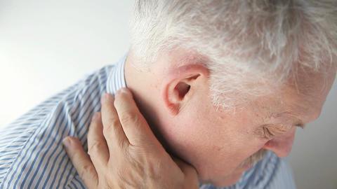 man with rash under collar Footage