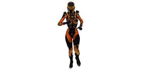 走る女性のサイボーグ CG動画