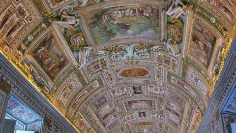 Vatican Frescoes. VATICAN - February 19, 2015: The Ceiling In The Corridor, Vati stock footage