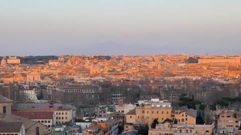 Rome in the setting sun. View from Passeggiata del Gianicolo. Rome, Italy Live Action