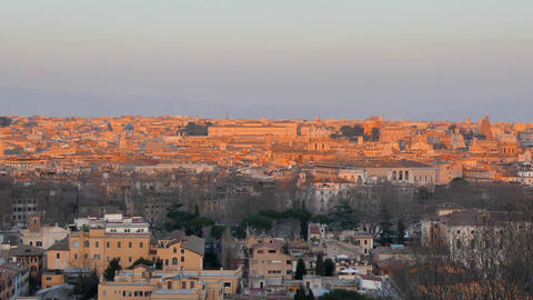 Panorama of Rome at sunset. View from Passeggiata del Gianicolo. Rome, Italy. 12 Live Action