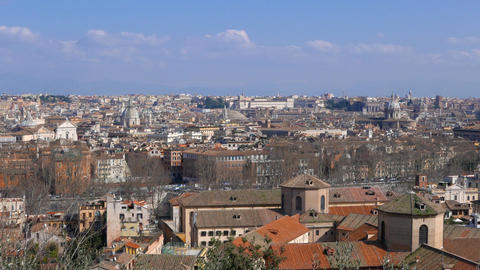 Panorama of Rome. View from Passeggiata del Gianikolo. Rome, Italy Live Action